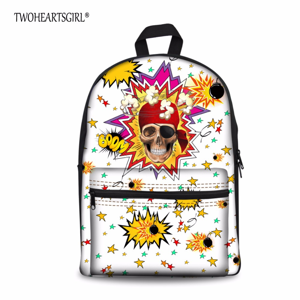 Coloring book bag - Twoheartsgirl Color Skull Designer Children School Bag Kids Adjustable Strap Schoolbag Lightweight Book Bag With Side