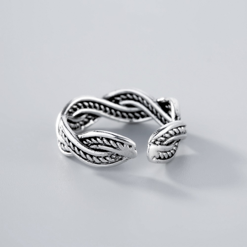 Todorova Brand 925 Sterling Silver Rings for Women Men Classic Wave Sterling-Silver-Jewelry Intersect Twist Finger Rings