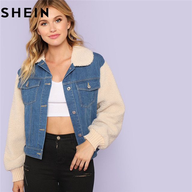 e533b970d8 SHEIN Blue Cotton Streetwear Single Breasted Patchwork Women Denim Jacket  Coat Autumn Faux Fur Outwear Collar And Sleeve Jackets
