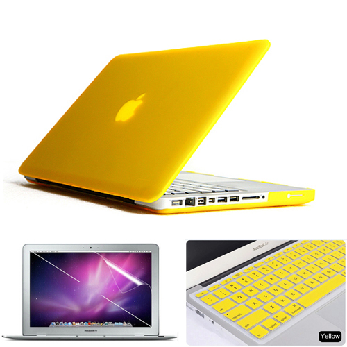 competitive price 68e15 6e21d US $13.99 |3in1 Yellow Matte Rubberized Hard Case Cover(11 colors)  +Keyboard Cover+Film For Apple Macbook Pro 15 inch A1286 Free Shipping-in  Laptop ...