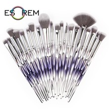 ESOREM 20 Pcs Cosmetic Brush Set Makeup Brushes Professional Tapered Gradient Handle Flat Definer Pinceaux Maquillage 5669