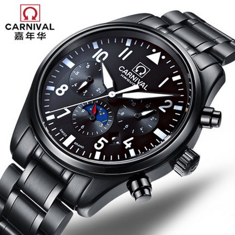 New Carnival automatic mechanical moon phase military male watch luxury black full steel luminous waterproof men watches leather new carnival moon phase hot automatic mechanical brand watches men s military waterproof luxury full steel watch leather strap