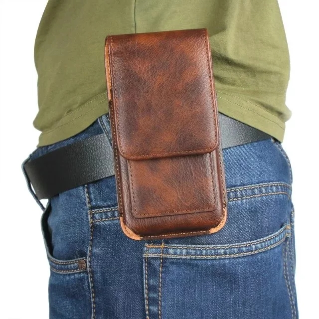 Outdoor Sports Leather Waist Belt Clip Phone Case Cover Bag Holster For Philips S326 S337 Xenium