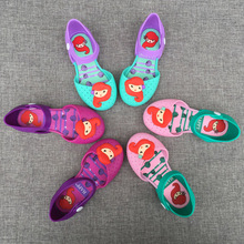 2017 Happy Mermaid Close Toe Girls Sandals Mini Kids Baby Jelly Shoes Summer Sandals Toddler Beach Slippers Splicing Color