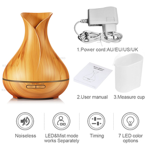 Image 5 - KBAYBO 400ml Wood Grain Ultrasonic Air Humidifier Aroma Essential Oil Diffuser with 7 Color Changing LED Lights for Office Home