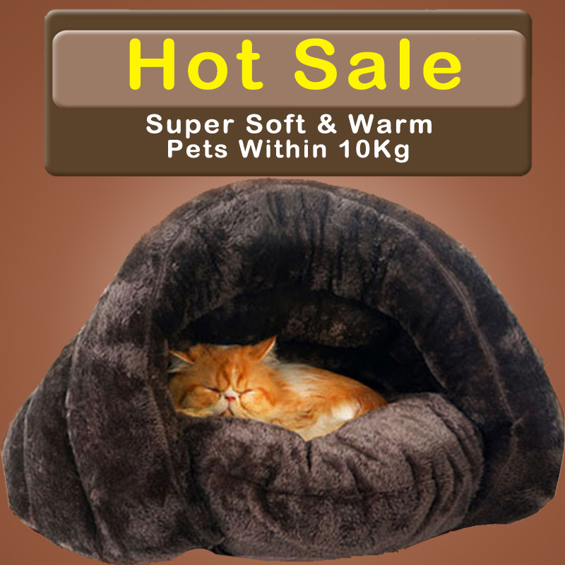 HOOPET Neue Ankunft Warme Katze Schlafsäcke Pet Betten Halbe Abdeckung Winter Nest Kitty Haus Katzen Bett Braun 2 Größe # K