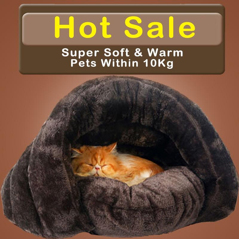 HOOPET Nueva Llegada Caliente Gato Sacos de dormir Camas Para Mascotas Medio cubierta Nido de Invierno Gatito Gatos de La Casa Cama Marrón 2 Tamaño # K