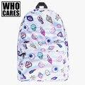 Мило патч holo 3D Печати who cares Мода школьные сумки для подростков mochila masculina повседневная bookbag рюкзаки rugzak мешок dos