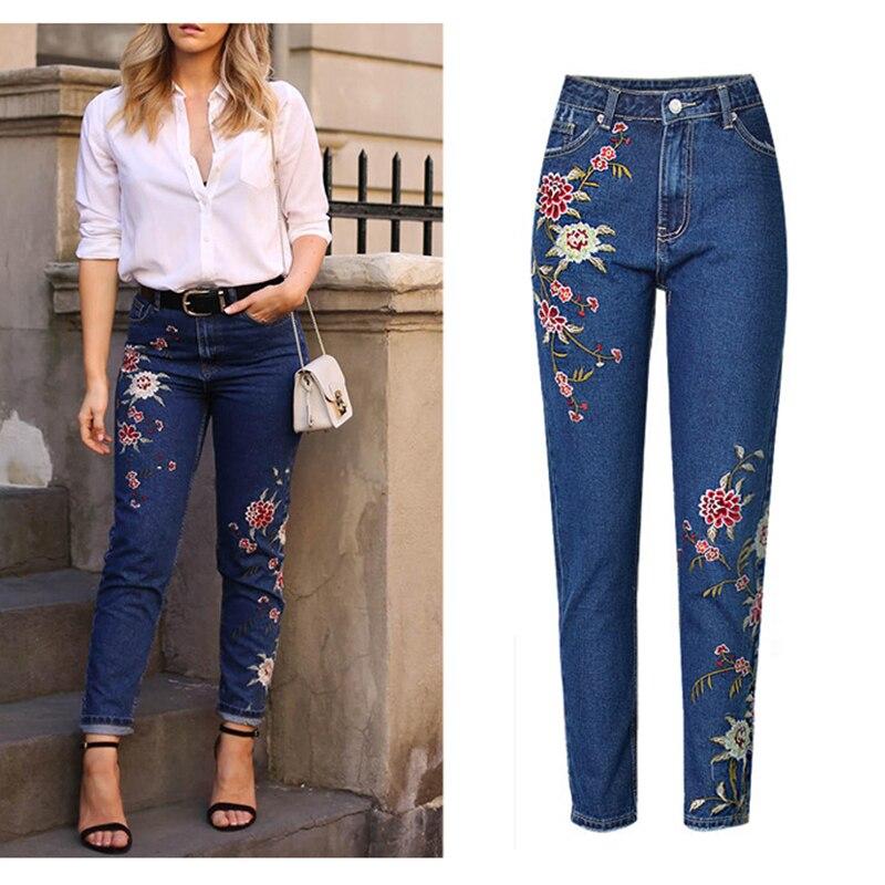 US $23.17 18% OFF|Gorące modne dżinsy odzież damska proste dżinsy spodnie 3D kwiatowe spodnie haftowane wysokiej talii damskie luźne jeansy