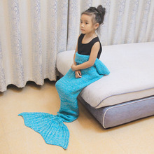 Kid Knitted Mermaid Tail Blanket Bedding Sofa Sleeping Bag Swaddling Mermaid Blanket Little Tail Throw Bed Wrap Blanket For Baby winter sleeping bag bed throw wrap mermaid blanket