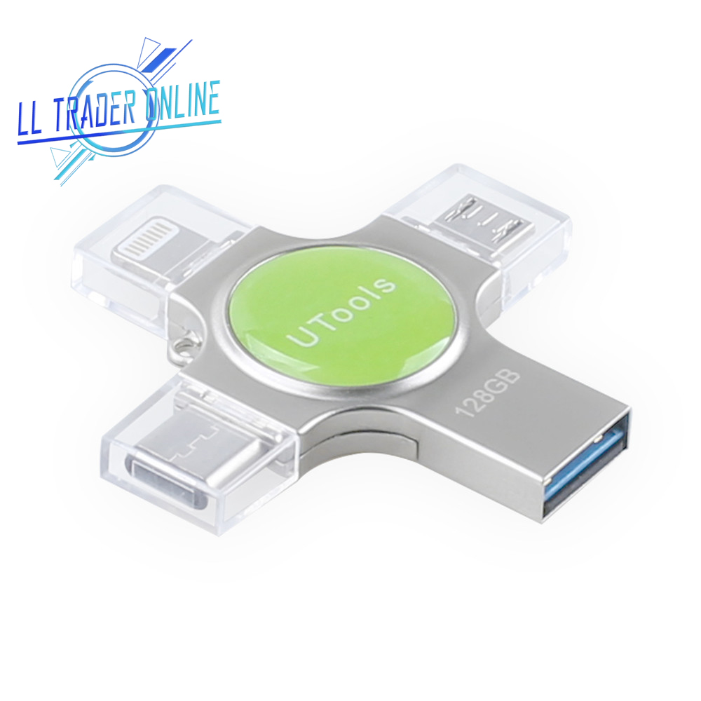 LL TRADER Mini USB Memory Stick 128GB OTG USB Flash Drive For IPhone 64GB Pendrive Flash Disk For IOS IPad Android Type-C 32GB