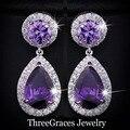 Chapado En Oro blanco Amethyst Púrpura Cubic Zirconia Cristal Redondo Pendientes de Gota Para Las Mujeres Del Partido de Tarde Accesorios ER016
