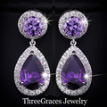 White Gold Plated Amethyst Purple Cubic Zirconia Crystal Round Drop Earrings For Women Evening Party Accessories ER016