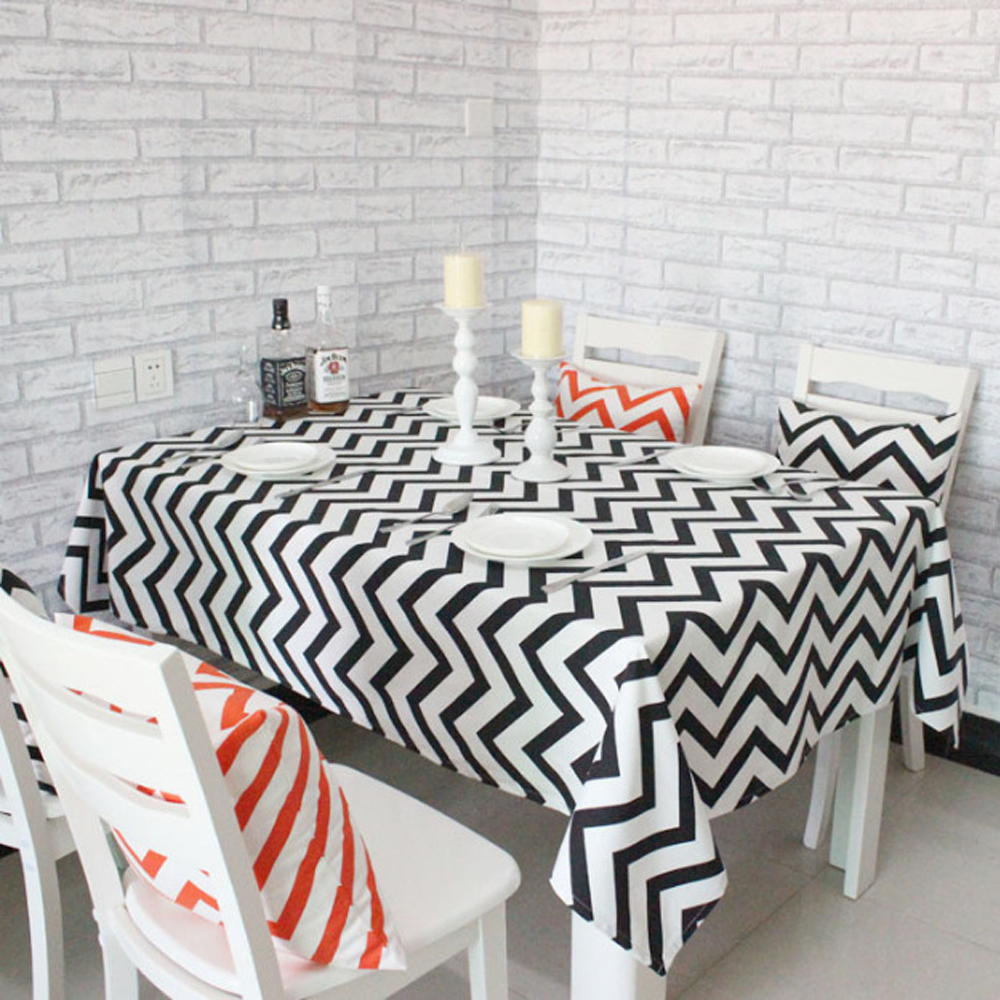 Modern Rectangular Table Cloth Geometric Square Tablecloth Table Cover Home  Restaurant Decoration Black And White Striped