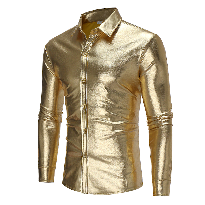 Brand 2018 Fashion Male Shirt Long-Sleeves Tops Light-Colored Shirt Personality Night Club Mens Dress Shirts Slim Men Shirt ...