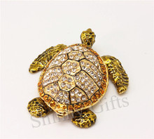 Enamel Craft Crystal Stones Sea Turtle Trinket Box Desk Decorative Small Gadget