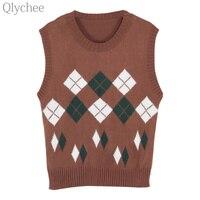 Qlychee Women Vintage Rhombus Knitted Vest Casual Sleeveless Tank Top Loose Streetwear Cami