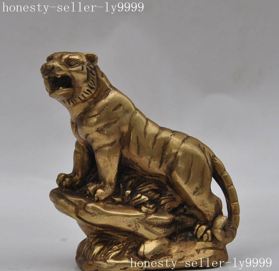 christmas Chinese fengshui Brass Copper Zodiac Year Tiger Animal Guardian Ferocity statues halloween