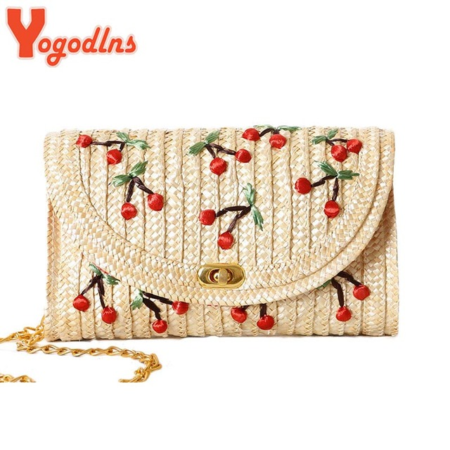 Yogodlns Weave Embroidery Cherry & Bananas Chain Women Messenger Bags Bohemian Style Mini Women's Messenger Bags