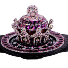 Gorgeous Diy Diamante Crown Car Perfume Holder Sparkling Noble Purple Rhinestone Diamond Incense Burner with Mat Car Accessories