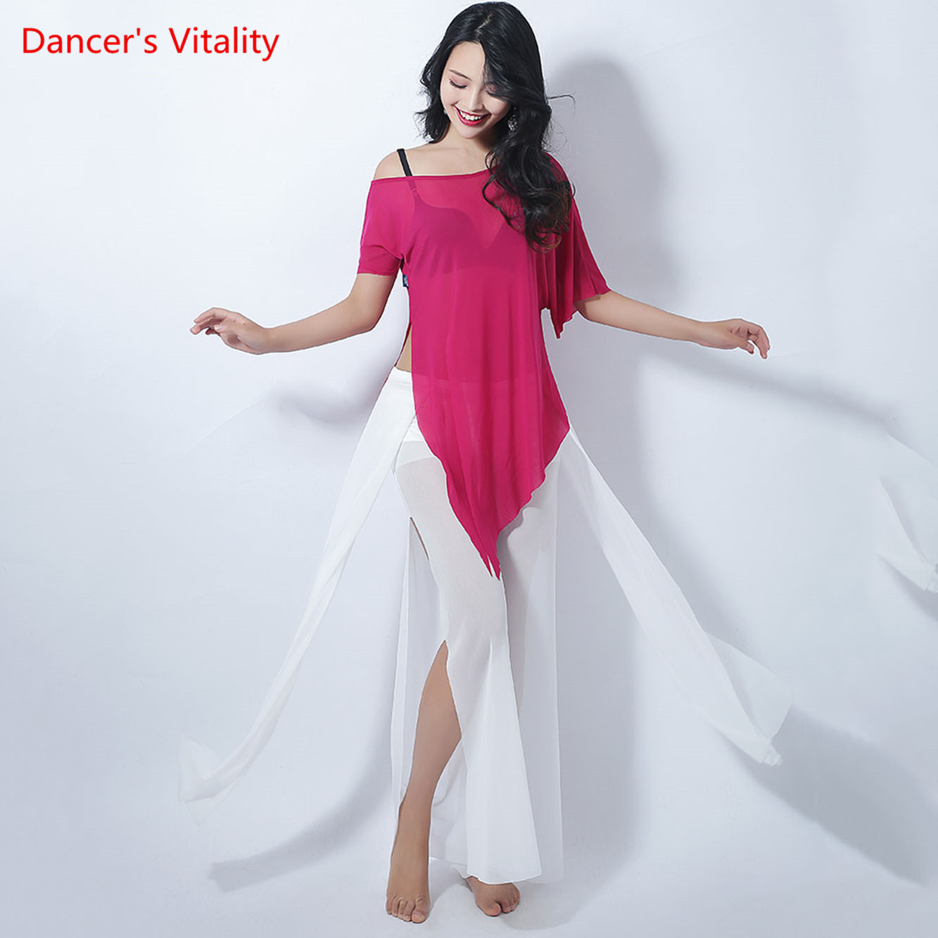 New Belly Dance Mesh Irregular Sexy Top Belly Dance Practice Suits Modern Tthnic Dance Wide-Leg Pants Free Delivery