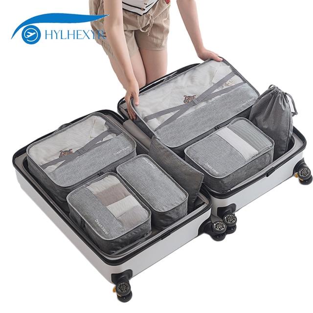 Hylhexyear 7 قطعة الرجال السفر حقيبة عطلة الأسبوع مجموعة حقائب قماش الملابس الأمتعة المنظم الحقيبة أكسفورد مكعبات تعبئة مقاوم للماء للجنسين