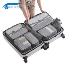 Hylhexyr 7 Pcs Mannen Reizen Weekend Tas Set Plunjezakken Bagage Kleding Organizer Pouch Oxford Verpakking Cubes Waterdicht Unisex