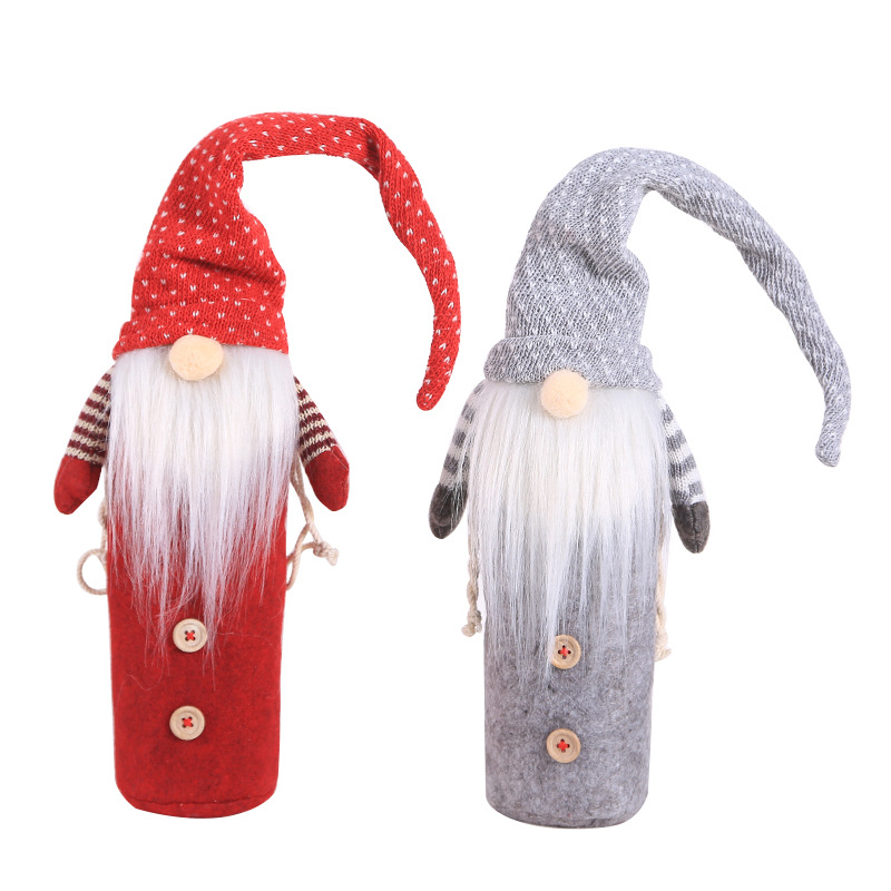 Christmas Decorations Red Wine Bottle Champagne Bottle Cover Set Santa Clause Hat Suit Christmas Party Dinner Table Decor 2020