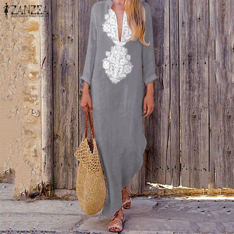 Plus Größe ZANZEA Frauen Tiefe V-ausschnitt Langarm Maxi Lange Kleid Herbst Vintage Paisley Kaftan Baumwolle Leinen Baggy Vestido 2018