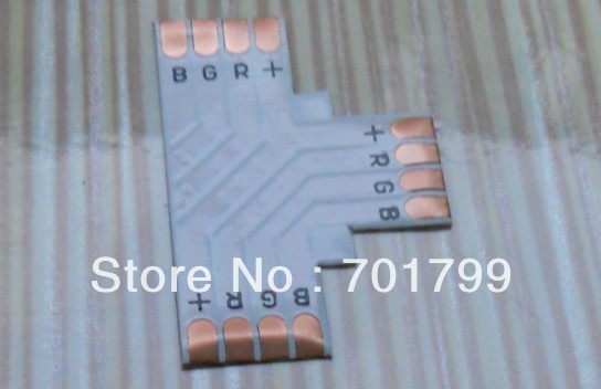 10mm width 4pin T type PCB connector, used for 10mm 5050 led rgb strip connection