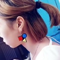 Hip Hop Europe Exaggerated Pop Style Square Geometry Acrylic Colorfull Earrings Fashion Jewelry Drop Earrings For Women