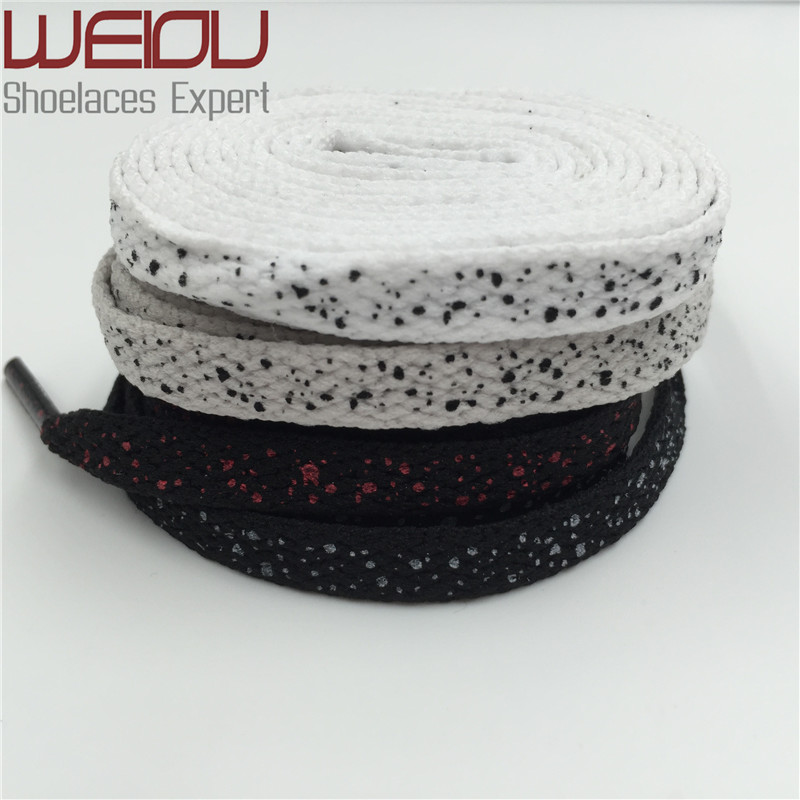 (30pairs/lot) Weiou Designer Shoe Laces Galaxy Splatter Custom Print Shoelaces AJ Flat polka dot Shoelaces Grey Black White