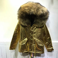 FASHION Thick Warm Women Winter Coat Natural Color Large Raccoon Fur Collar With Faux Fur Lining