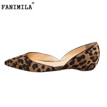Women Flats Shoes Pointed Toe Casual Shoes Woman Sexy Leopard Mother Student Lazy Shoes Ladies Brand Footwear Size 35-46 B196