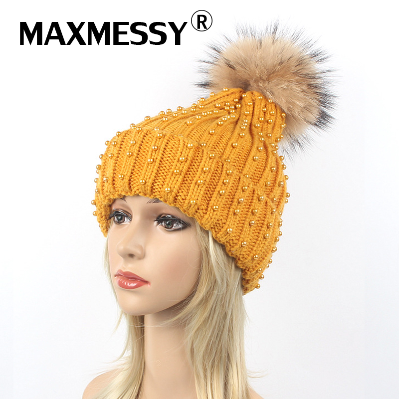 MAXMESSY Winter Hat For Women Knitted Cap Brand Handwork Beading Pearl Girls Raccoon Fur Warm Ear   Skullies     Beanies   MH151