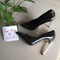 MAYA REAL PHOTO 2017 Sexy women high heels black patent women pumps
