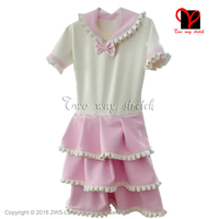 White with Pink Sexy Latex Dress with Rubber Dress with short sleeves Playsuit Bodycon size XXXL QZ 094