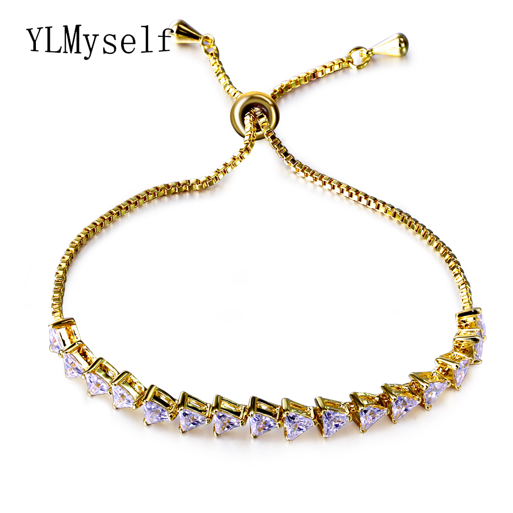 Fashion Bracelet femme Copper metal alibaba express Adjustable length Triangle cz crystal White/Gold-color Free Size Bracelets
