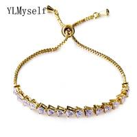 Mode Armband femme Koper metalen alibaba express Verstelbare lengte Driehoek cz Wit/Goud-kleur Gratis Size Armbanden