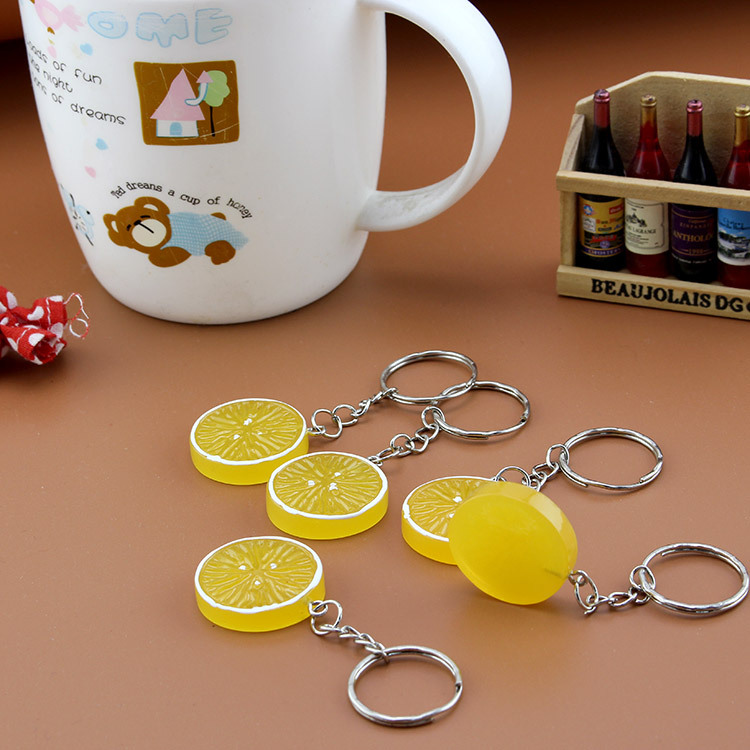 Fruit Keyring Orange Lemon Charm Pendant Keychain For Purse Bag