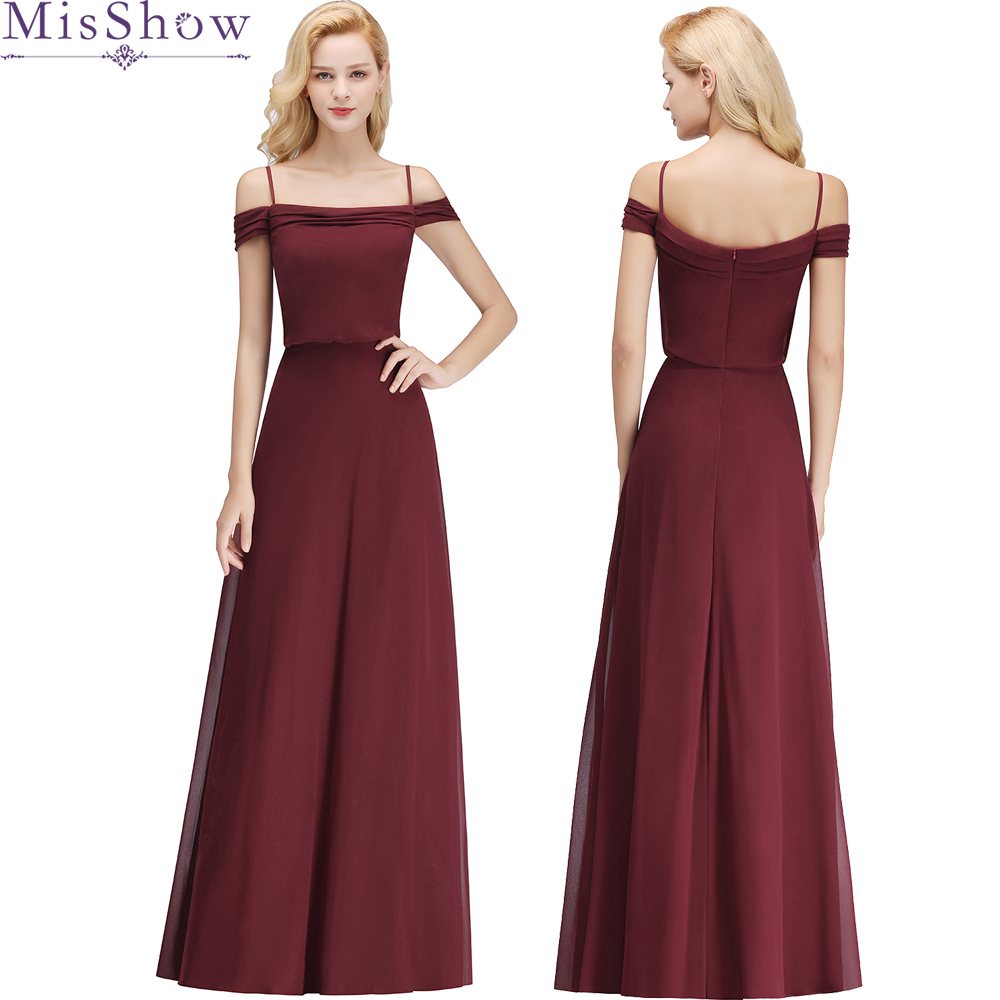 2018 Bridesmaid Dresses Long Chiffon off shoulder Prom Dresses Cheap ...