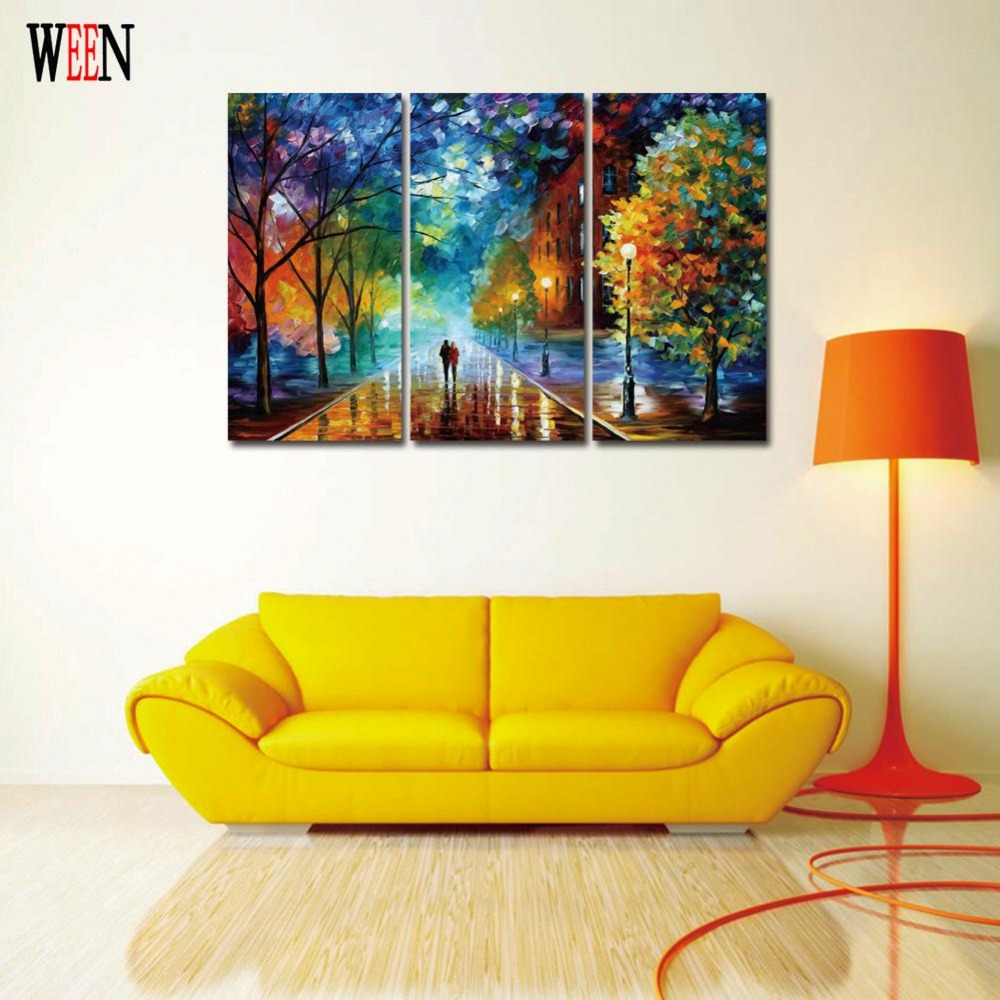 3 Piece Walking in the street Wall Canvas Art Painting Pictures For ...
