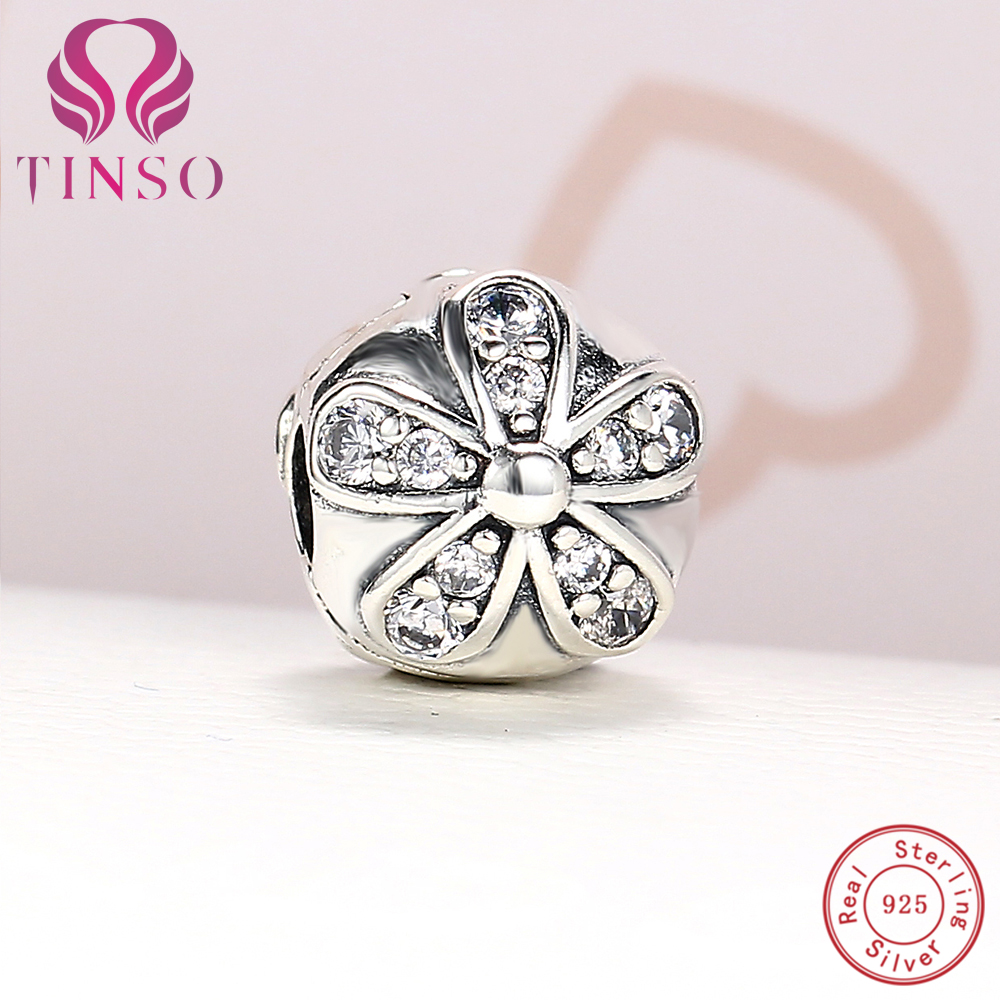 100% Authentic 925 Sterling Silver Luxury Flower Charm Clips Beads Fit Pandora Charm Bracelet DIY Original Silver Jewelry Making