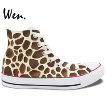 Cute Giraffe White High Top Personalized Shoes Art Wen Unique Birthday Gifts for Men Women Hand Painted Canvas Sneakers