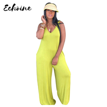 Echoine Summer Sexy Women hooded Neck Strapless Spaghetti Straps Loose Casual Jumpsuit Plus Size S-XXL Haren Rompers