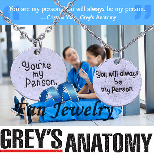 For Greys Anatomy Quote Friendship Your Are My Person Necklace Xl466