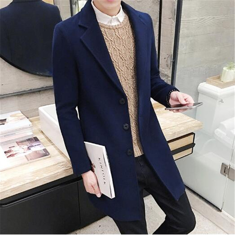 Tang cool 2018 Winter Men Leisure Long Sections Woolen Coats Mens Pure Color Casual Fashion Jackets / Casual Men Overcoat