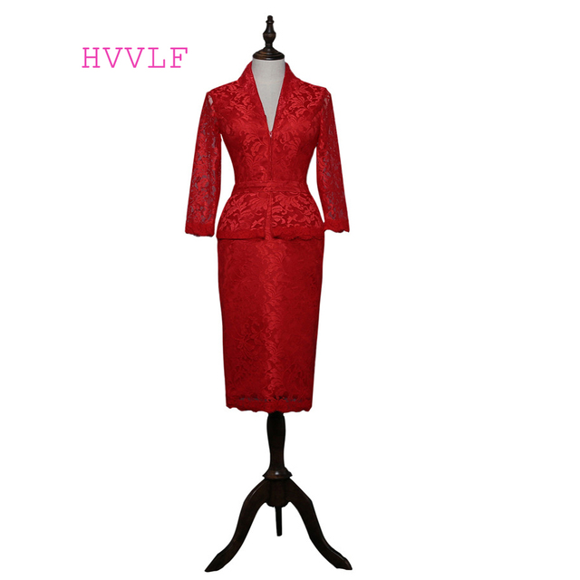 Red 2018 Mother Of The Bride Dresses Sheath V neck Long Sleeves Knee ...