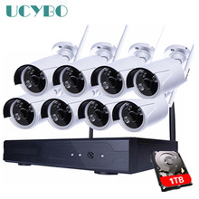 8CH Wireless NVR IP Camera 960P HD CCTV System 8PCS IR Outdoor waterproof Wifi IP Camera 1.3mp Home video Security Surveillance