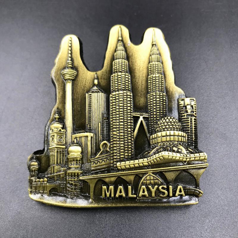 1 Pc Nuova Vendita Calda Creativo 3d Metallo Malesia Souvenir Turistici Magneti Del Frigorifero Autoadesivi Del Frigorifero Magnetico Della Casa Del Regalo Una Gamma Completa Di Specifiche